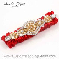 "Red and Gold Pearl Beaded Wedding Garter ""Charlotte 01"" Gold"