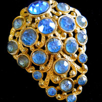 Blue Rhinestone Dress-Fur Clip, Art Deco, Antique Gold Tone, Vintage