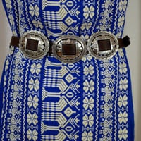 Brighton Western Belt, Boho Belt, Early 90s Belt, Tunic Dress Belt, Sweater Belt, Leather Belt, Drop Waist,Brighton Leather Belt, Size Large