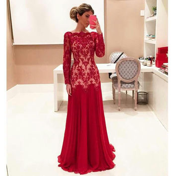 Long Sleeve Lace Chiffon Prom Dresses