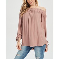 show me off the shoulder top - mauve