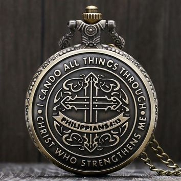 Vintage I Can Do All Things Through Christ Who Strengthens Me Philippians 4:13 Pattern Pocket Watch with Necklace Chain Gifts