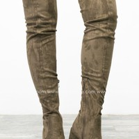 Thigh High Suede Boots | Taupe