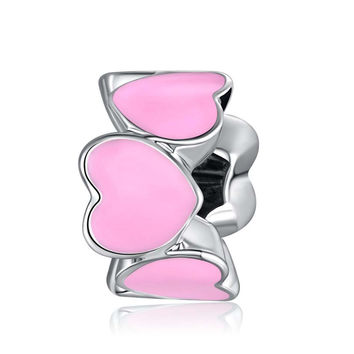 Pink European Cute Love Heart Beads Fit Women Pandora Bracelet Bangle DIY Jewelry