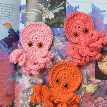Crochet Applique Octopus Ocean party favors ornaments bag appliques Beach theme embellishments Handmade supply baby appliques 3 psc Set