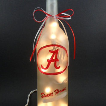 University of Alabama Crimson Tide Hand Painted Lighted Wine Bottle Light Frosted Sweet Home Alabama Red White 750ml