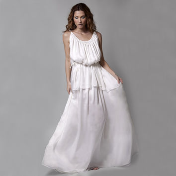 Silk Chiffon And Satin Ancient Greek Dress - DaRousso