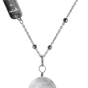 """Make a Wish - 29"""" Sweater Necklace with Glass Wish Pendant"""