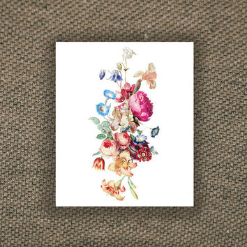Beautiful large vintage floral temporary tattoo, Fashion Tattoo