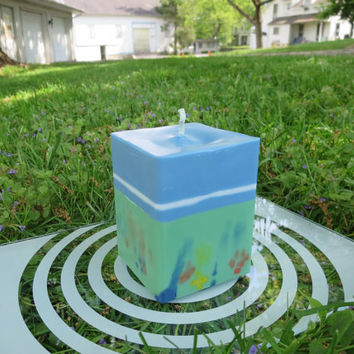 Mint green and sky blue soy pillar candle, mid-day dream eco-friendly square candle, unscented story-telling soy block candle