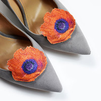 Orange poppy - shoe clips, shoe accessories, shoe fashion, real glitter, leather accessories, wedding shoe