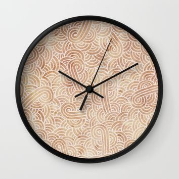 Iced coffee and white zentangles Wall Clock by Savousepate