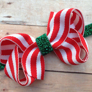 Red & white striped bow on green glitter headband - red baby headband, green headband, red headband, Christmas headband