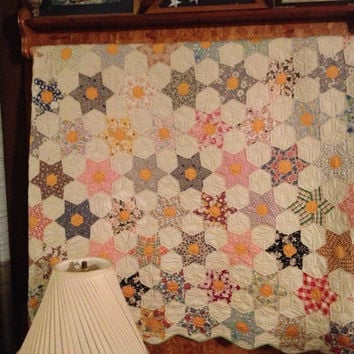 Vintage Star Quilt hand quilted twin with green back, Vintage hand quilted, Vintage bedding, Hand quilting, Twin sized quilt