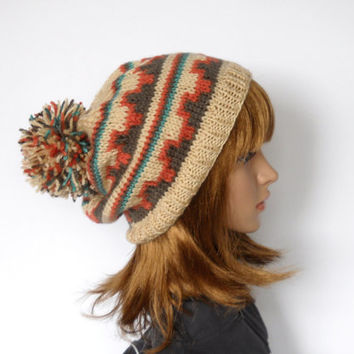 Southwestern Pattern Slouchy Beanie, Pom Pom Hat in Beige, Taupe, Coral and Turquoise Geometrics, Handknit beanie in Southwestern Colors