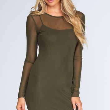 Unforgettable Mesh Dress - Olive