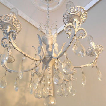 TORINO 1950's vintage, white shabby chic chandelier from Italy, brass, 6 arms