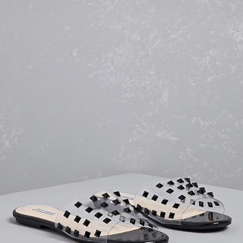 Studded Clear Strap Slides
