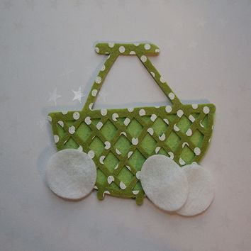 Easter green polka dot felt wicker style basket with eggs, felt cut out, die cut out, scrapbooking and embellishment, supply, Spring
