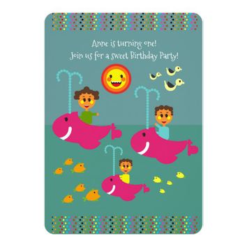 Sailing with baby first birthday party invitation