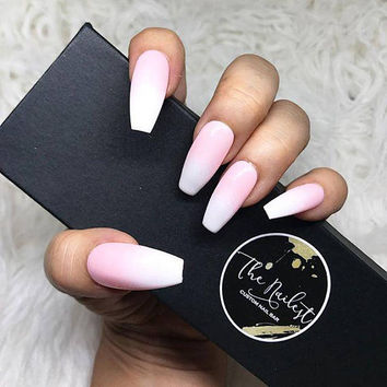 Pink and White Ombre Nude Blend Press On Nails | Any Shape | Fake Nails | False Nails | Glue On Nailes | The Nailest