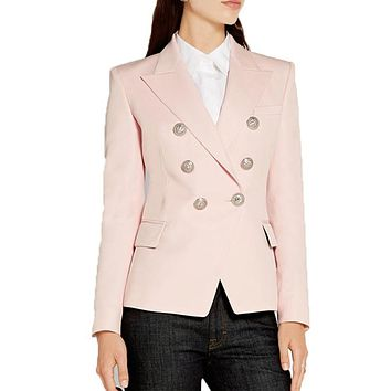 HIGH QUALITY New Fashion 2017 Baroque Designer Blazer Jacket Women's Silver Lion Buttons Double Breasted Blazer Outerwear