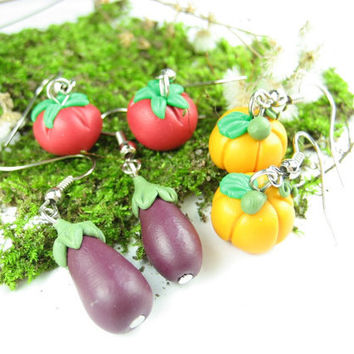 Pumpkin, Tomato and Eggplant Earrings - food jewelry