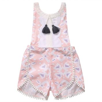 Girl Sleeveless Strappy Floral Pink Romper With Tassels