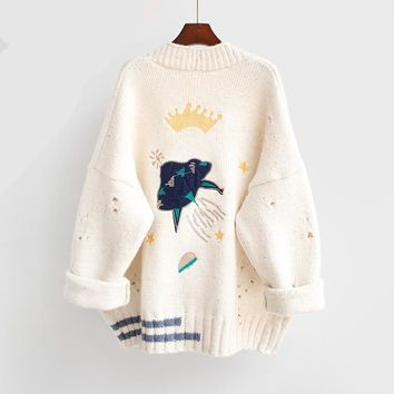 Cardigans Cartoon Embroidery Sweater