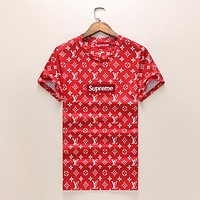 Trendsetter LV x Supreme Women Men Casual Sport T-Shirt Top Tee