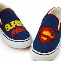 Super Man Slip on Canvas Shoes Peace Painting Shoes