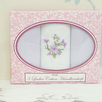 Ladies Cotton Embroidered Handkerchiefs x 3, In Original Box, White, Lavender, Lilac, Purple, Gift Boxed, Wedding, Bridal, Hankie, Hanky