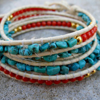 Turquoise, Gold, and Coral Wrap Bracelet