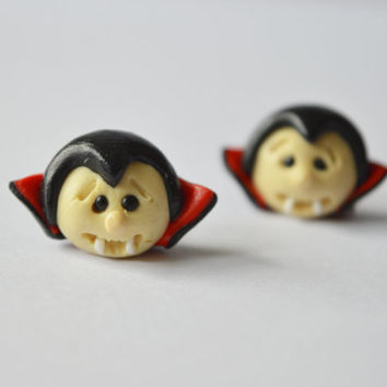 vampire earrings,Count Dracula post,Halloween jewelry,Halloween monster earrings,cute stud,black Holiday earstud,unusual piercing,ear pins