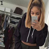 Women Sexy Fashion Crop Top Hoodies Long Sleeve Hooded Sweatshirt