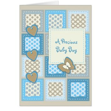 New Baby Boy Card patchwork butterfly