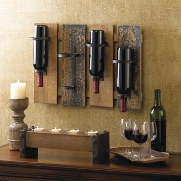 RUSTIC WINE WALL RACK