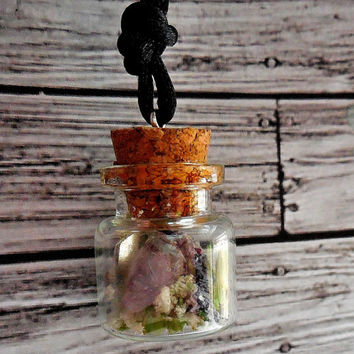 Amethyst and Raw Quartz Crystal With Dried Lavender Terrarium Necklace / Amethyst Terrarium Necklace / Wiccan Crystal And Amethyst Jewelry