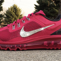 Women's Nike Air Max 360 Running Shoes By Glitter Kicks - Customized With Swarovski Crystal Rhinestones - Magenta