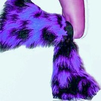 PURPLE  BLACK TONE FLUFFY FURRY  BOOT COVERS LEGWARMER RAVE HALLOWEEN CLUBWEAR
