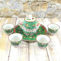 Vintage Chinese Hand Painted Porcelain Tea Set with Tray