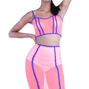 Neon Orange and Blue Stripe See Trough Crop Top and Midi Skirt Set
