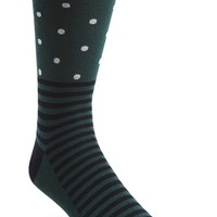Men's Topman Stripe and Dot Pattern Socks - Green