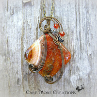 Wire Wrapped Necklace- Orange Druzy Crystal Agate Pendant in Antique Bronze - Healing Stone