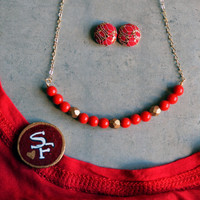 SF Niners, Fabric Button Earrings, Niners Inspired Jewelry Set, Red & Gold, Birthday Gift, Football/Sports Theme Accessories