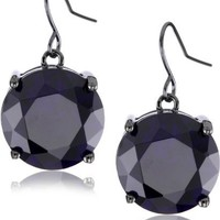"nOir ""Classic CZ"" Purple Round Stone Statement Earrings"