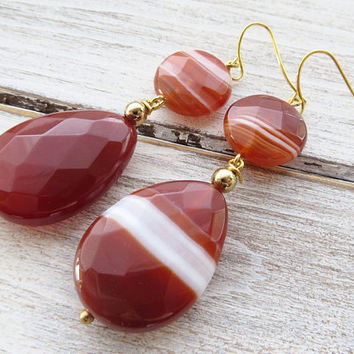 Orange agate earrings, gemstone earrings, teardrop earrings, dangle earrings, semi precious stone jewelry, wedding jewelry, italian jewelry