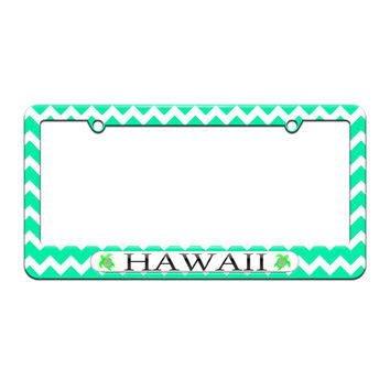 Hawaii Love - Turtle - Hibiscus - License Plate Tag Frame - Teal Chevrons Design