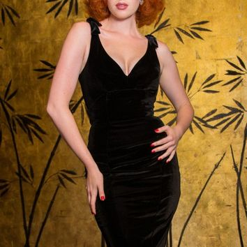 The Laura Byrnes Gilda Dress in Black Velvet