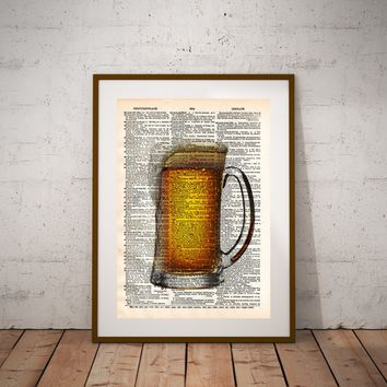 Frosty pint, beer pint art, mancave wall art, gift for beer lover, beer sign